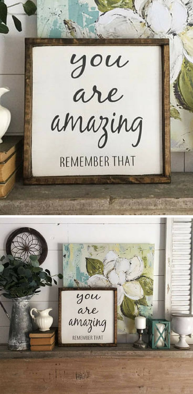 Great inspirational sign. You are amazing - Remember that, Home decor, Inspirational wall art, Farmhouse sign, Farmhouse decor, Rustic decor, Rustic sign, gift idea #ad