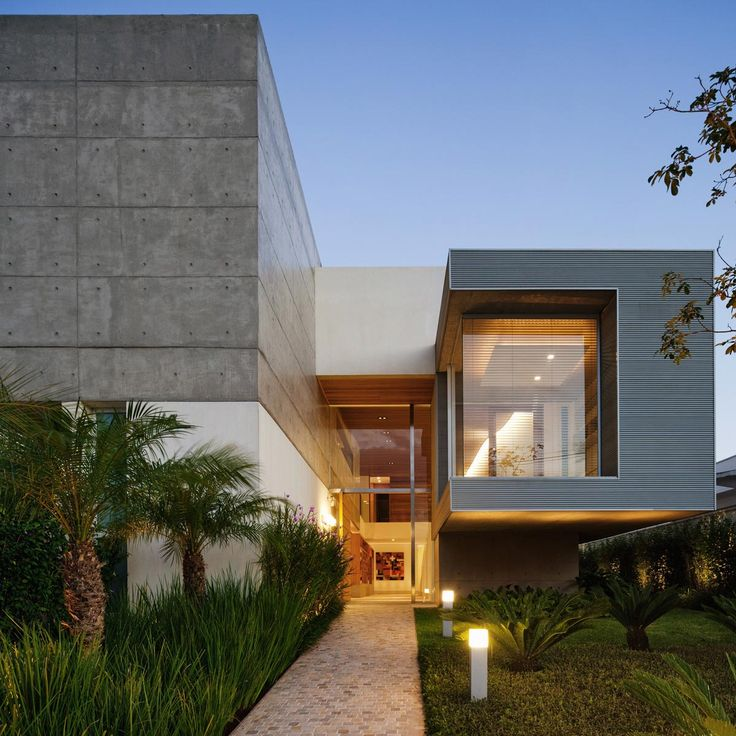 Entrance, Exposed Concrete, FG Residence in Araraquara, Brazil