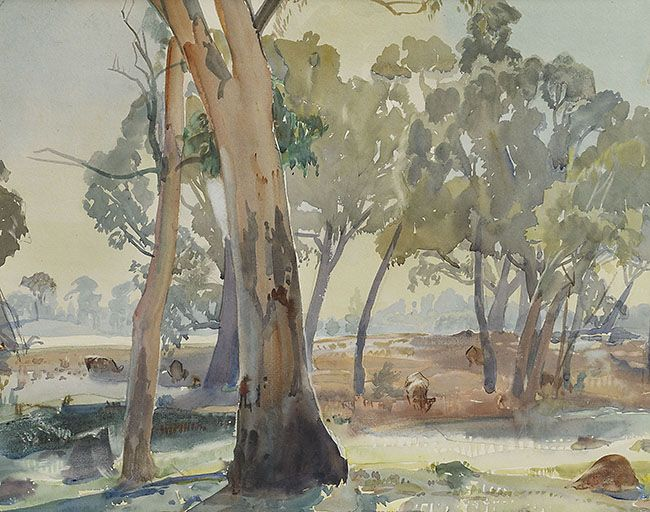 Hans Heysen (Australian, 1877-1968), Morning Sunlight, 1936. Watercolour, 32.2 x 39.5 cm.