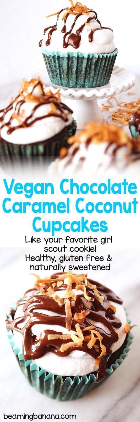 Rich chocolate cupcakes stuffed with coconut caramel and topped with light whipped cream, chocolate, caramel, and more coconut. These vegan chocolate caramel coconut cupcakes are gluten free and naturally sweetened.