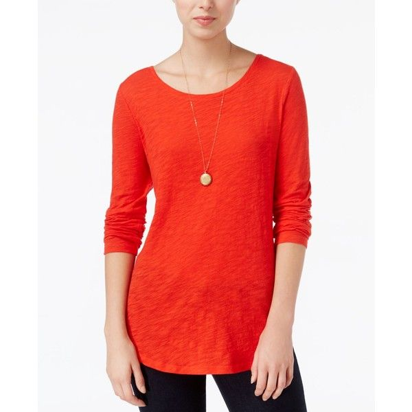 Maison Jules Long-Sleeve Crew-Neck Top, ($15) ❤ liked on Polyvore featuring tops, loving red, crew-neck tops, maison jules, crew top, long sleeve tops and red long sleeve top
