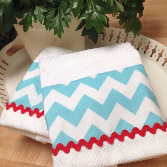 Tea Towel Kitchen Curtains: Tea Towel Aqua Chevron And Red Retro Style Kitchen Towel