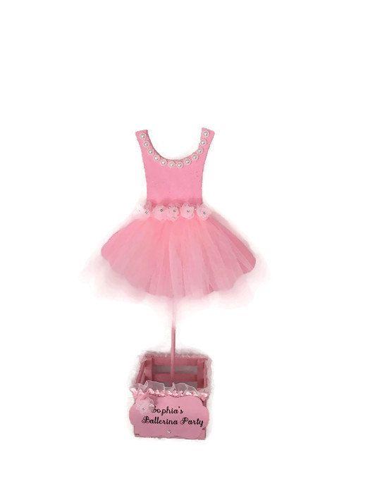Bailarina Tutu centro de mesa rosa con perlas y fiesta