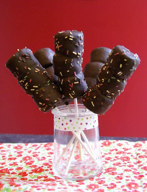 Sucette de chamallows au chocolat