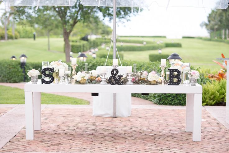 Black And White Table Settings With Metallic Accents. Blush Floral  Centerpieces. Sweetheart Table.