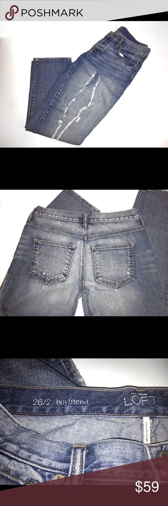 Womens Distressed Jeans Size 26/2 Boyfriend like new Ann Taylor Jeans Boyfriend