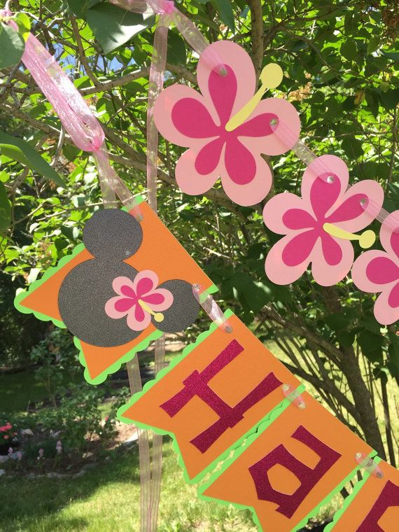 Minnie Mouse Luau Themed Birthday Banner by RileyJInspired on Etsy