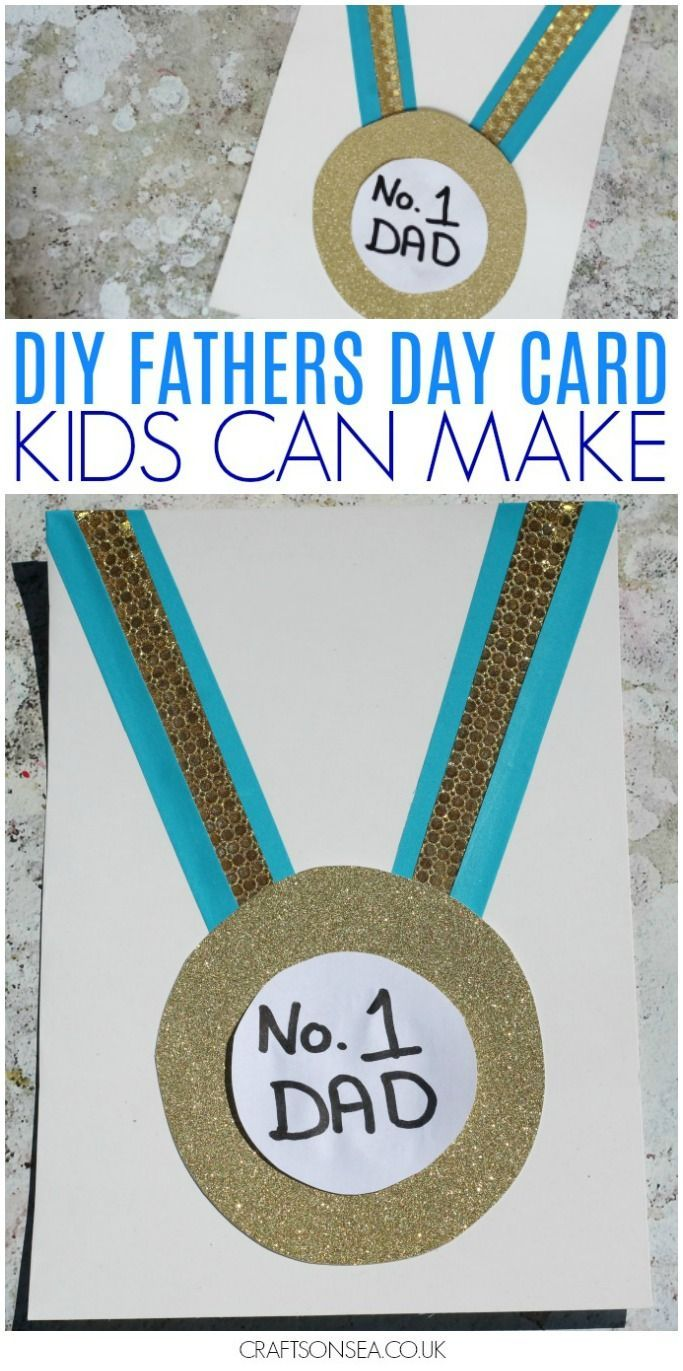 Make this cute medal Fathers Day card your number one dad! Perfect for kids to p...