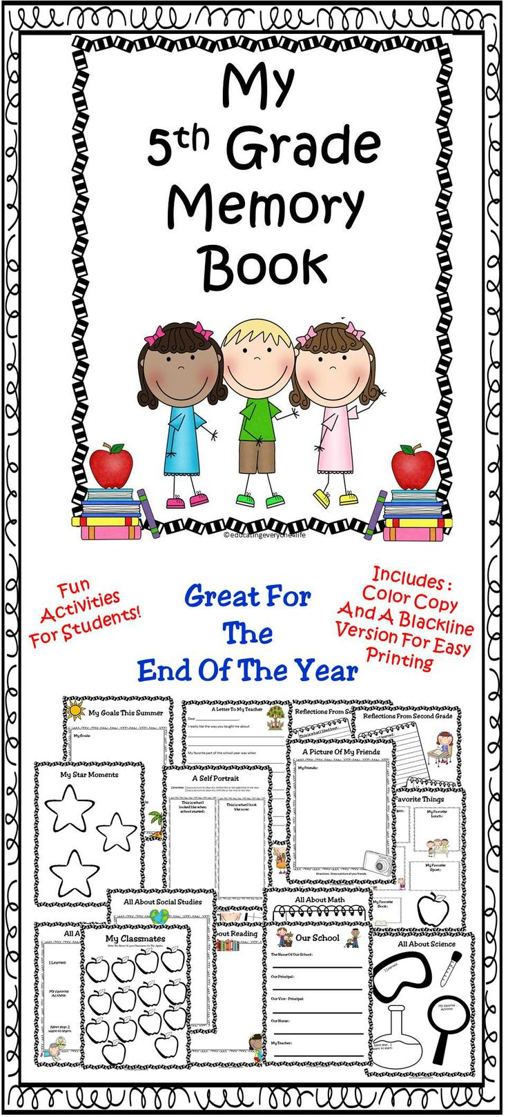 Worksheets For 5th Grade Students : Best last day week of school activities images on