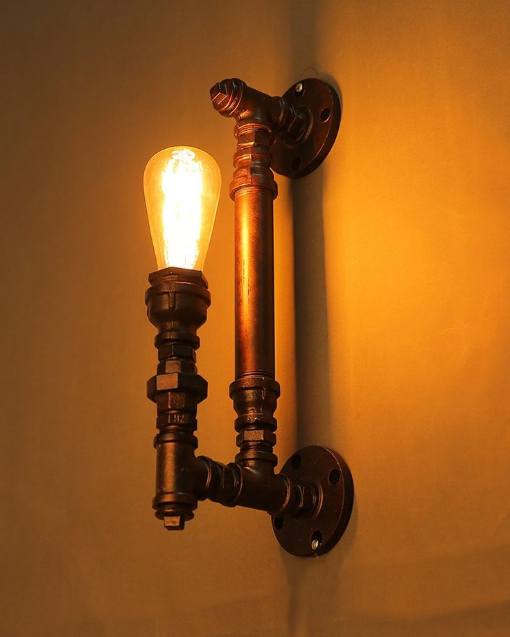 Industrial Style Black Iron Pipe Wall Sconce