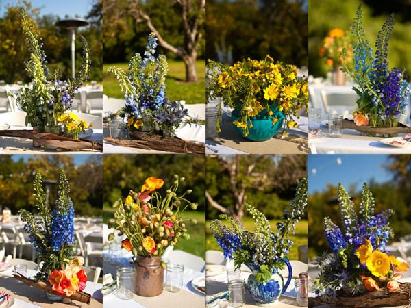 wildflowersFlower Container, Ranch Wedding, Wedding Receptions Tables, Tables Centerpieces, Flower Pots, Wedding Flower, Blue Flower, Pretty Flower, Yellow Flower