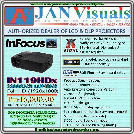 InFocus IN119HDx, InFocus IN119HDx 3D Ready, InFocus IN119HDx Full HD PROJECTOR, InFocus IN119HDx 3200 LUMENS DLP PROJECTOR, InFocus IN119HDx PORTABLE HDMI Home Theater PROJECTOR -- Projectors -- Metro Manila, Philippines