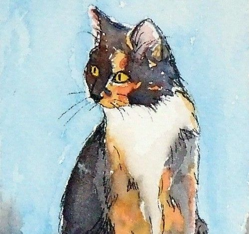 ACEO calico cat   WATERCOLOR