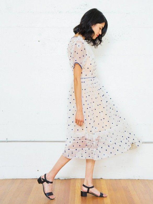 A sheer polka dot dress