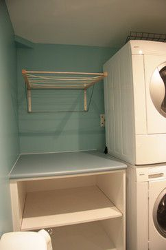 """Or... laundry counter for """"dry flat"""" and hanging rack above. Rack from Ikea - photo credit: http://www.latelierducoin.com"""