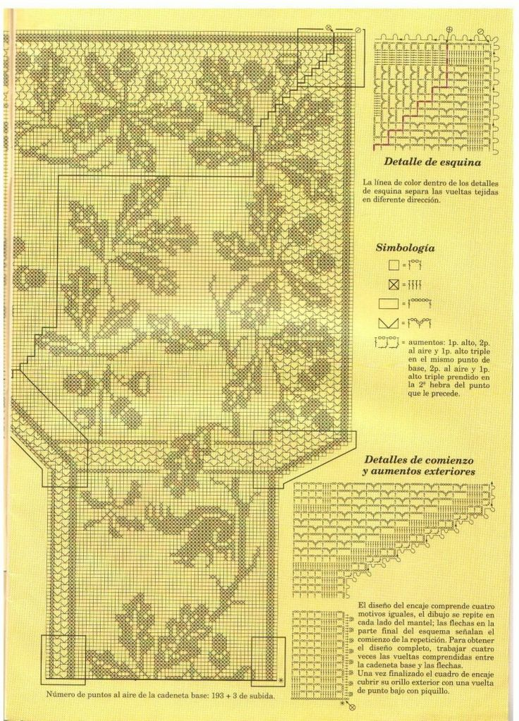 "Filet Crochet Chart. (Part 3/3) Oak and Squirrel Design by Mary Card. ""Muestras y Motivos: Especial Manteles 3"", (738×1024)"