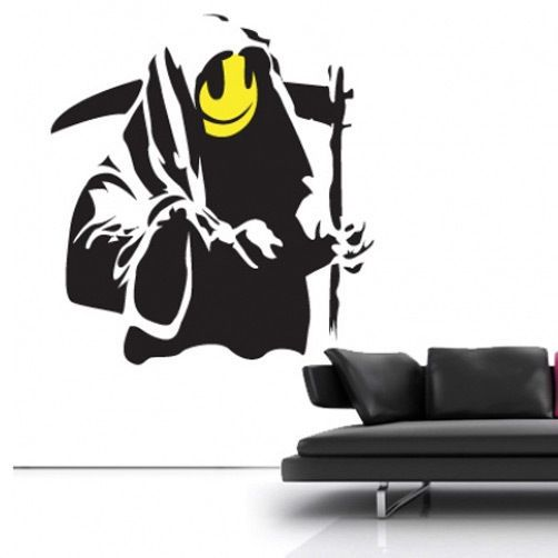 BANKSY GRIN REAPER WALL STICKER DECAL ART