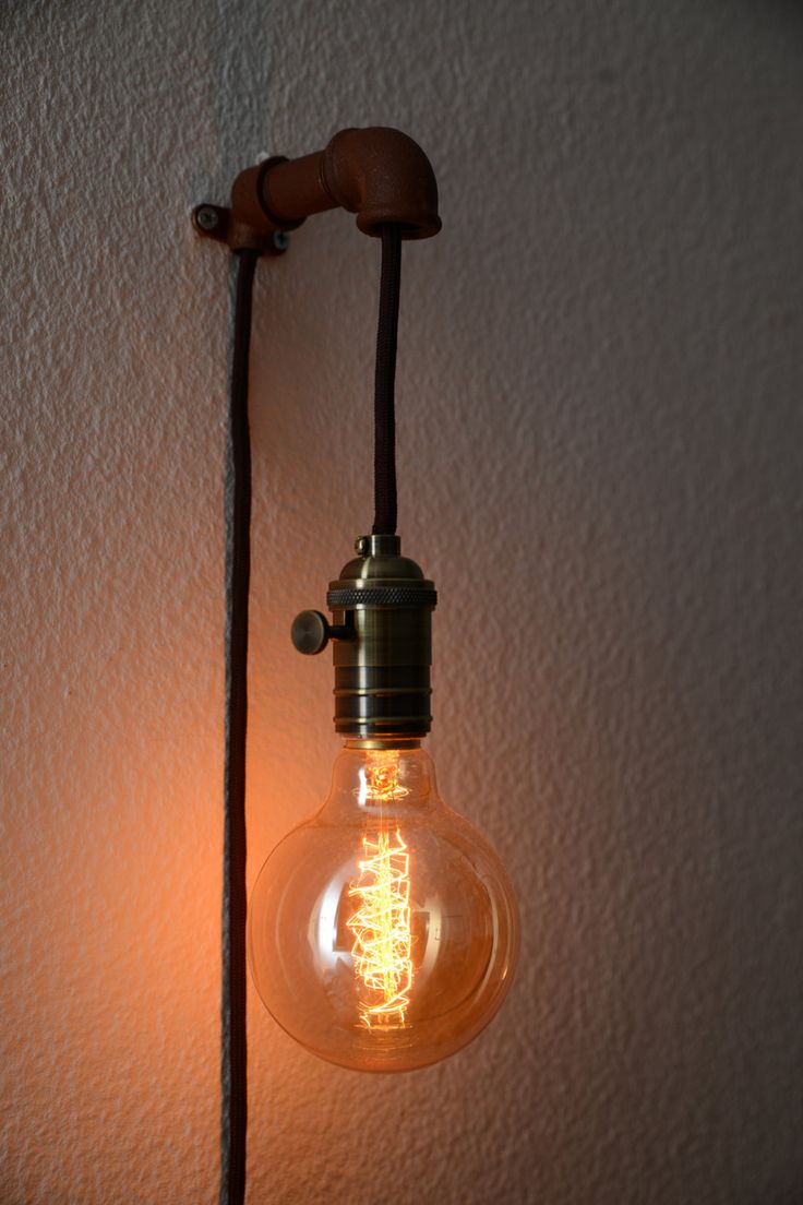 Steampunk Wall Pendant Lamp - Wall Lamps & Sconces -  STEAMPUNK WALL PENDANT LAMP For a nice retro look is the lamp uses an Edison light bulbs (40watts/E27er version) supplied. The lamp has a 3 m-long, black textile cable, a high-quality metal frame with rotary switch and a plug for European Sockets. You can determine the color of the cable and... #Concept #Diy #Edison #Industrial #Lightbulb #Metal #Recycled #Sconce #Simple #Steampunk