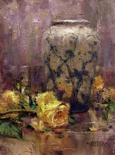 """Daily Paintworks - """"Yellow Roses and Split Complementary"""" - Original Fine Art…"""