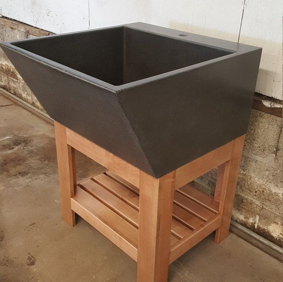 Captivating Large Sloped Utility Sink With A Hardwood Maple Stand. This Is A Beautiful  Large Concrete