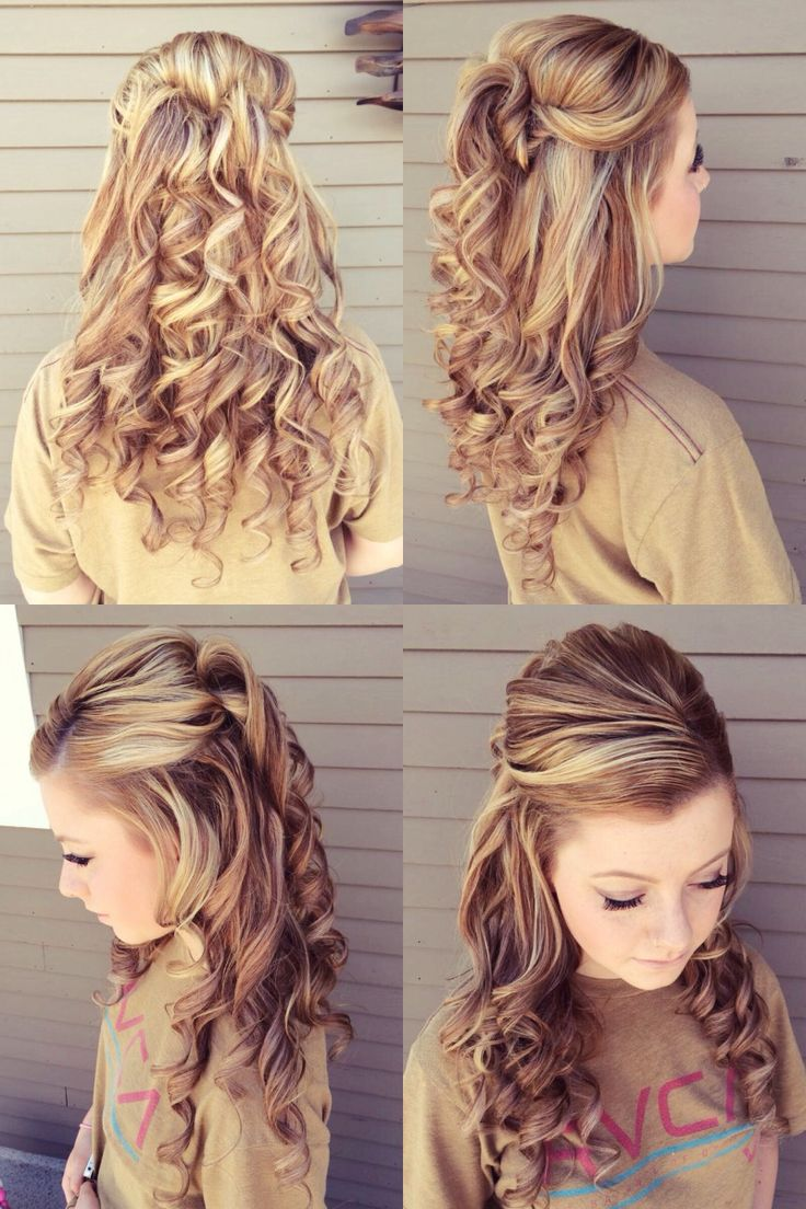 Prom hair style, half up, half down. My hairdresser added so much volume and curls :) I loved it!