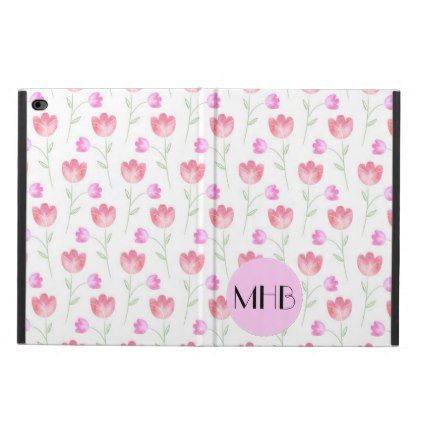 Monogram - Flowers Leaves Plant Stems - Pink Powis iPad Air 2 Case - floral style flower flowers stylish diy personalize