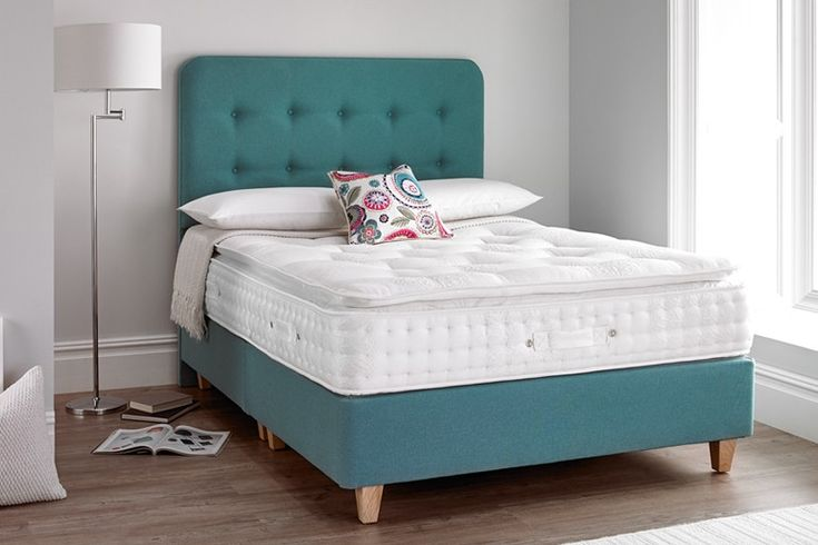 The main features of the Newport Divan Bed on Legs are: Divan bed on Legs base with Newport Floor Standing Headboard Choice of Oak or Chrome Legs Upholstered in a choice of fabrics, Velvet, Wool Effect or Fusion Choice of colours, pictured in Fusion Teal & Fusion Stonewash Platform top base with choice of storage options The Newport Beds on Legs comes in 2 divan blocks in a 4ft, 4ft6, 5ft & 6ft & one divan block in a 3ft with a floor standing headboard. This bed only requires li...