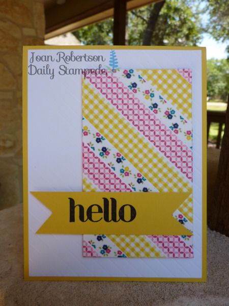 handmade greeting card ,,, Washi Hello by junior tx ... great design ,,, panel made of washi tape adhered in diagonal lines ... big HELLO on double fishtal tag ... like the hand embossed lines parallel to the washi tape lines ,,, great card!! ... Stampin' Up!