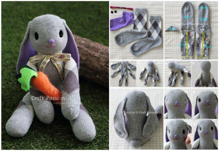 10 modèles de lapin à bricoler avec des chaussettes!