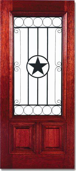 Texas Star Front Doors Exterior Texas Star Custom Wood Wrought Iron Doors Dream Home Pinterest