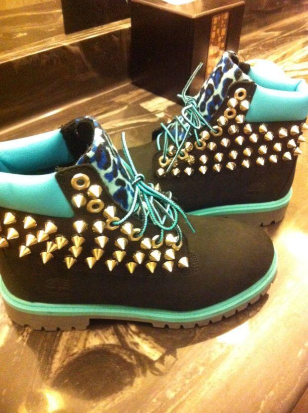 custom spiked timberlands fav shoes timberland
