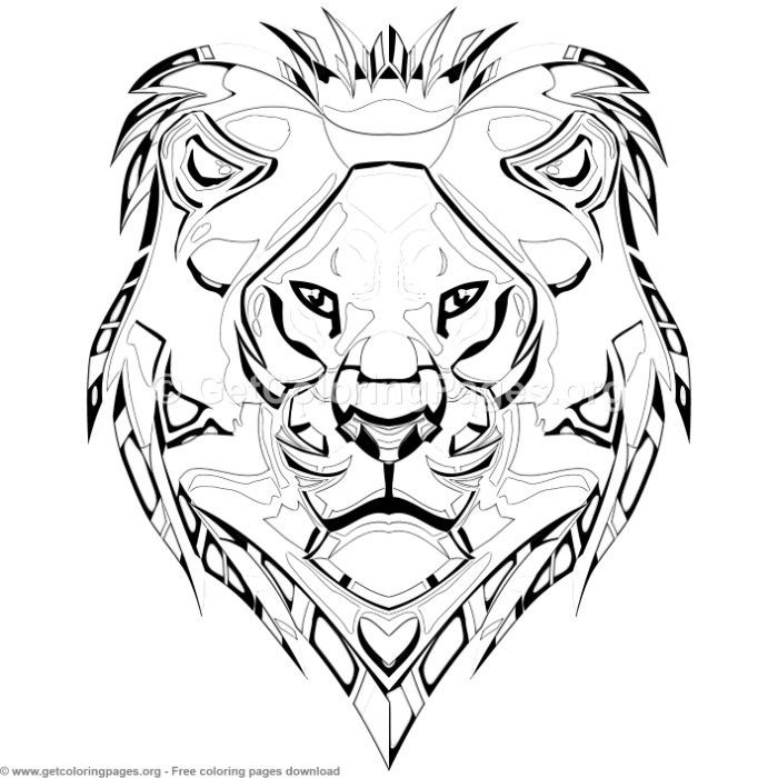 Lion Head Coloring Pages Free Instant Download Coloring