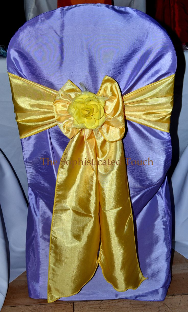 Lilac Chair Cover with Yellow Satin Bow and Silk Flower Decoration.  The Sophisticated Touch ...Chair Covers by Design