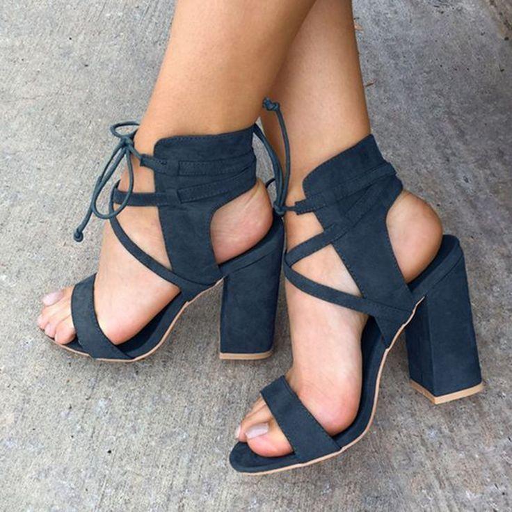 Shoespie Dark Blue Block Heel Sandals