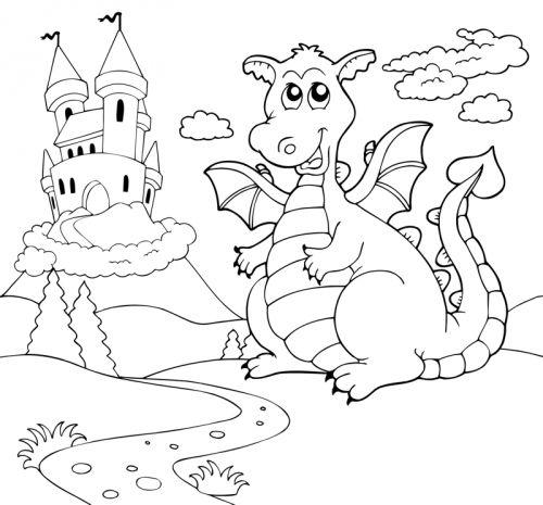 Märchen: Kostenlose Malvorlage: Drache vor dem Schloss zum Ausmalen