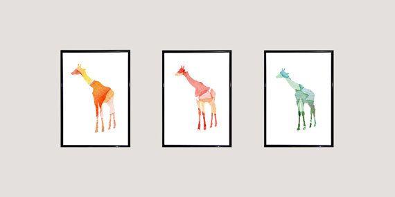 Set van 3 Giraffe Aquarel Prints  Dier door Lemonillustrations