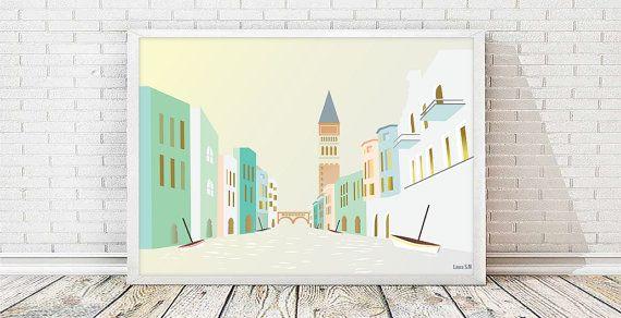 Venice, Cityscape, nursery decor, art print, modernist print, italy, living room art,print illustration,wall art decor,Venice wall art,Italy