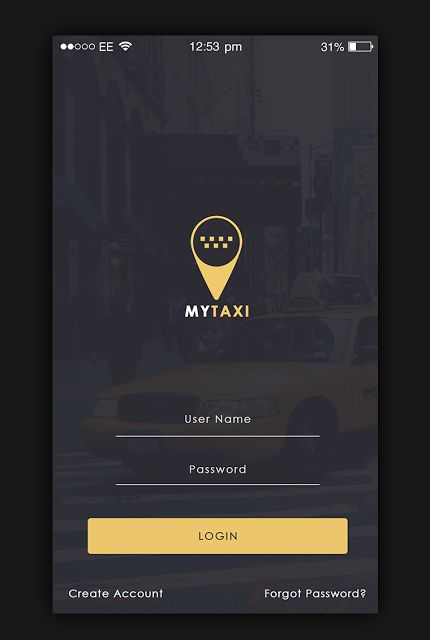 Taxi App Login screen  My Taxi App UI Design Is A Uber And Ola Clone, Creative Designs Idea Presents High Creativity Design Wireframes For Taxi App, Use This App UI Design To Create Your Awesome App Design. My Taxi App Design With 13 Screen Grabs. The Design Of The Uber Like My Taxi App. They Give The Examples Of The App Both From The User And The Driver Partner's Perspective.