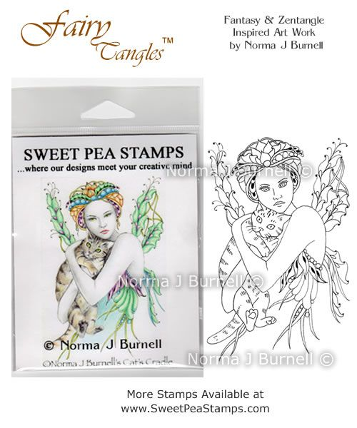 "New release Rubber Stamp for crafting: ""Cat's Cradle"" available at https://www.etsy.com/shop/FairyTangleArt  or at http://sweetpeastamps.com"
