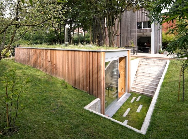Tiny green-roofed atelier sinks into a leafy backyard in Belgium | Inhabitat - Sustainable Design Innovation, Eco Architecture, Green Building