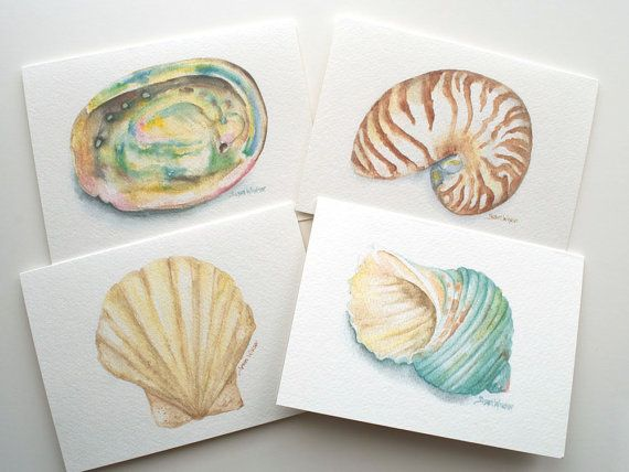 Seashell Watercolor Painting Note Card Set of 4 by SusanWindsor, $10.00