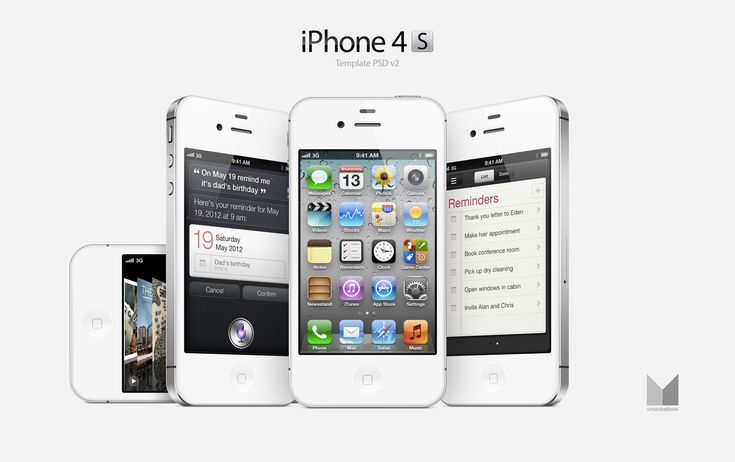 iPhone 4S x 4 - portrait, landscape and angled. Free layered PSD template for download. Outstanding! Thanks, Marshall.