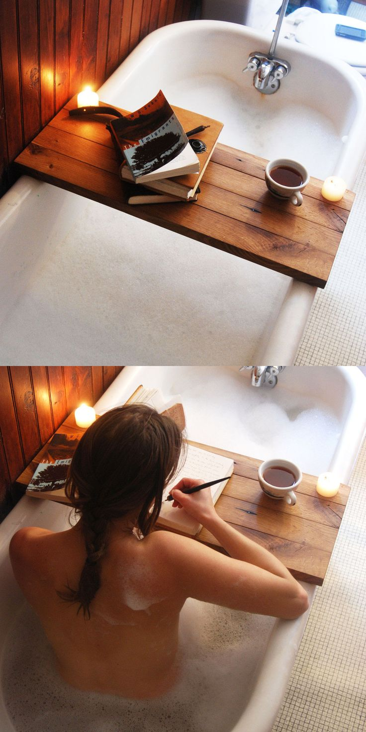 Make a relaxing statement in your elegant bath with the Wooden Tub Caddy. experience into something that you've always dreamed of. Made out of reclaimed oak from barns built in the 1800s, the caddy has two holes drilled in the corners—perfect for a votive candle or tea light. Water-resistant and easy to clean, the caddy just needs a quick wipe-down after every use.