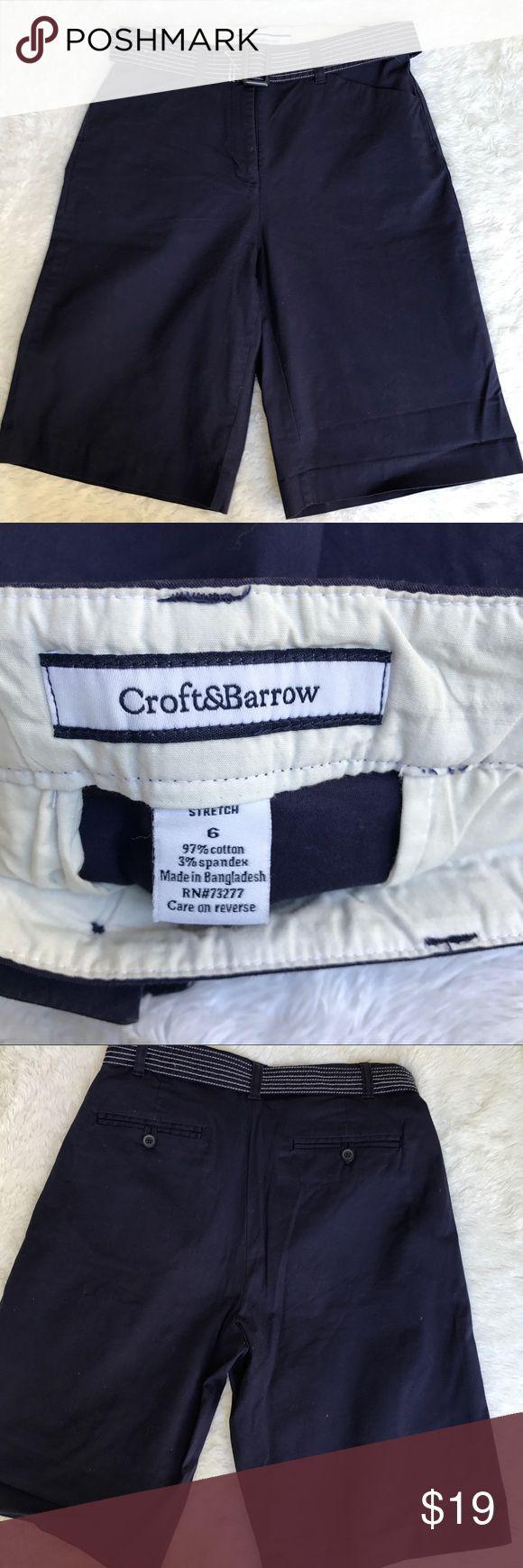 "Croft & Barrow Women's blue shorts. NWOT Croft&Barrow women's blue dress/casual shorts. 2 deep front pockets 2 back pockets. Belt comes with shorts. Size 6 stretch inseam 11.5 rise 11"" waistline laying flat 14.5"" bin 11 croft & barrow Shorts"