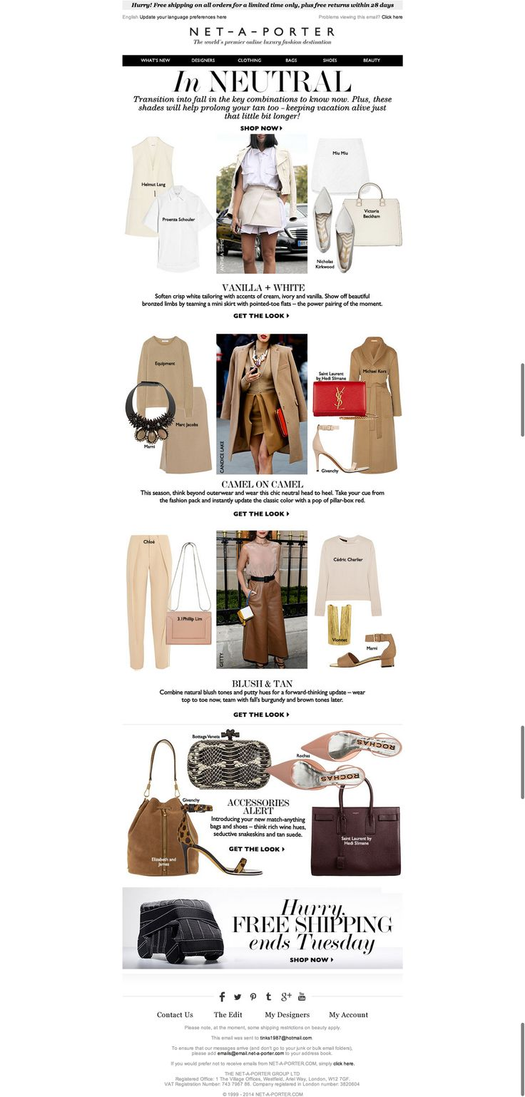 emails, fashion, net a porter, websites, style,