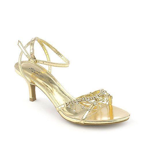 Gold Shoes Low Heel | Tsaa Heel