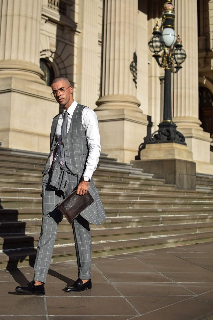 Mens Fashion Style & Outfit inspo by Blogger MR TURNER. Zara Man, checked grey suit with The Shirt Maker white shirt. Shot in Melbourne Parliament House.