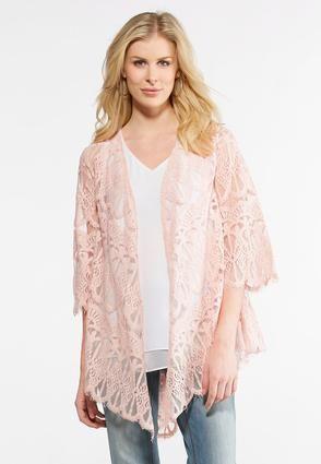 8370c3ff123fbd Cato Fashions Allover Lace Kimono #CatoFashions | Flamingo Pink ...