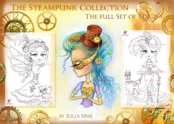 3 Digital stamps Steampunk Digi Metal Gear Fairy by JuliaSpiri