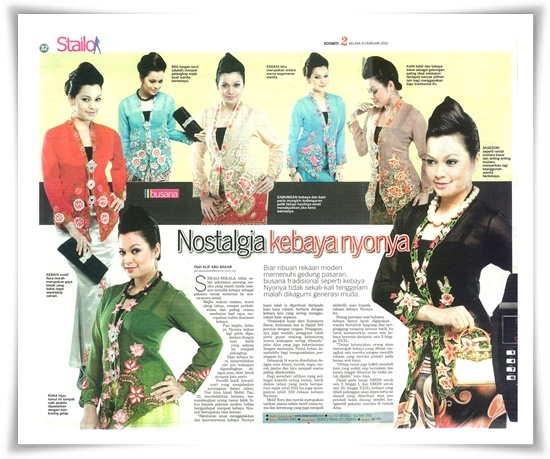 A beautiful kebaya nyonya on our newspaper's interview :-)